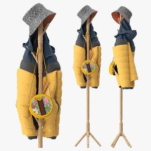 wood coat rack stand 3D model