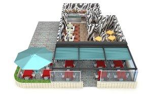3D zebra restaurant