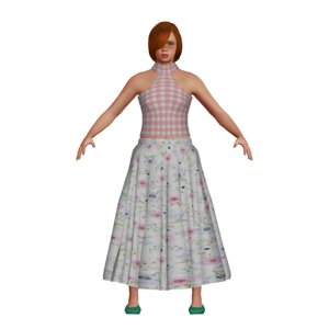 caucasian girl long skirt 3D model