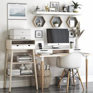 office chair desk 3D