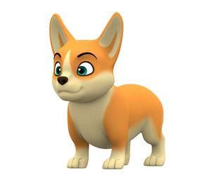 3D corgi puppy model