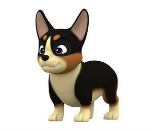 3D model corgi puppy