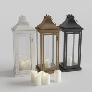 3D model outdoor floor lanterns candles