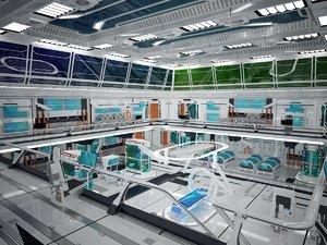 Future science fiction laboratory scene, science fiction, science, future factory workshop, laborato