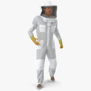 3D model man wearing beekeeping suit