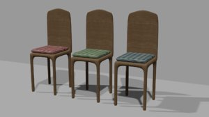 3D 3 chairs green