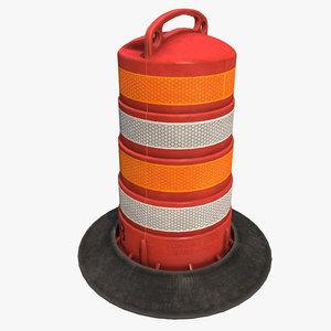 3D traffic road barrel