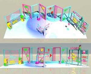 3D neon light vector trend model