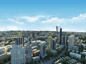 3D bird s-eye view city