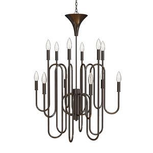 3D light chandelier oil rubbed model