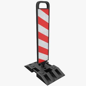 3D warning traffic post model