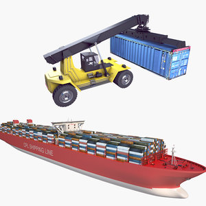 3D reach stacker container ship model