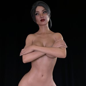 3D model rigged asian woman face