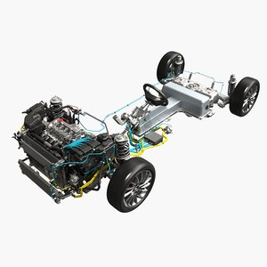 hybrid electric car chassis 3D model