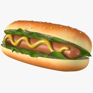 3D hot dog pbr