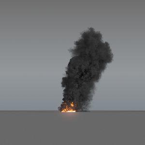 smoke column large scale 3D model