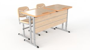 3D model double student table