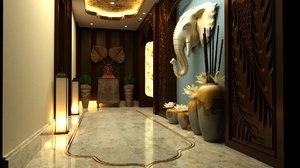 3D corridor lobby
