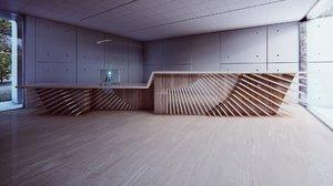 3D reception counter model