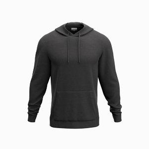 3D hoodie black hood