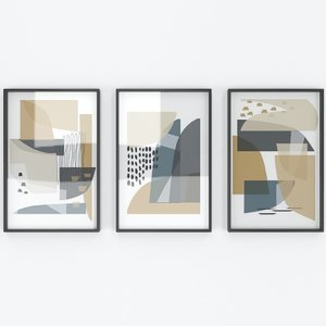 set abstract wall arts 3D model