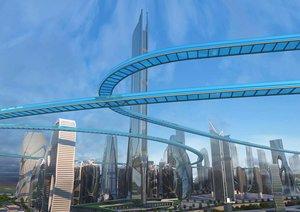 science fiction city technology 3D model