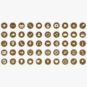 50 universal icons illustration 3D model