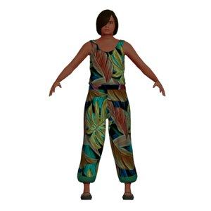 3D model adult latina woman pantsuit