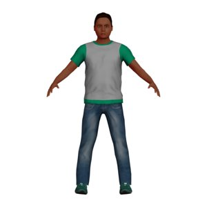 3D young latino child character model