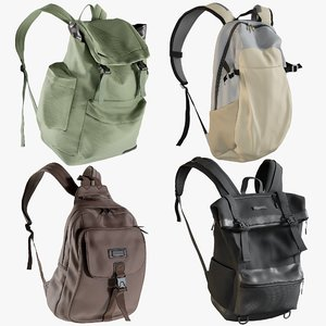 3D realistic backpack 7 collections