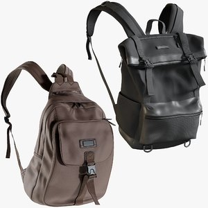 realistic backpack 6 collections 3D