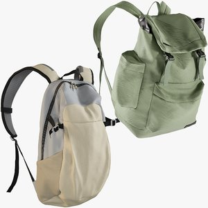 3D model realistic backpack 5 collections