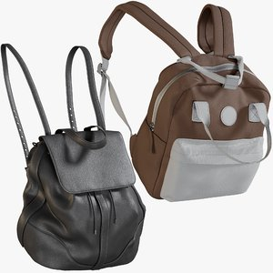 realistic backpack 10 collections 3D model