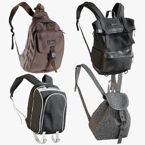 3D realistic backpack 8 collections