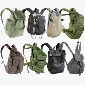 realistic backpack 11 collections 3D model