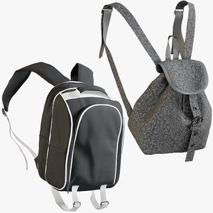 realistic backpack 9 collections 3D