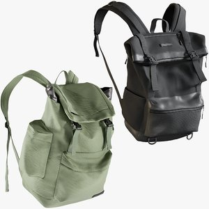 3D realistic backpack 3 collections