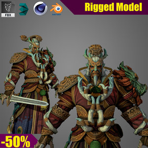 3D character warrior fighter model