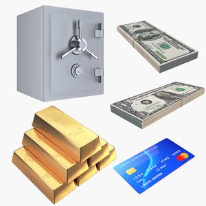 money gold safe bills 3D model