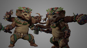 character warrior fighter 3D model