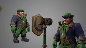 3D model character warrior fighter