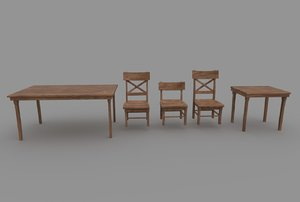 3D wood table chair