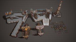 3D model pack port lighthouse ancient ship