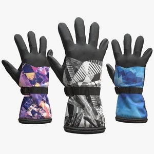 3D model snowboarding gloves