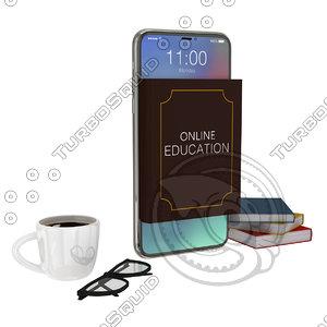 online book phone 3D model