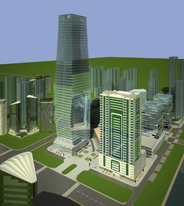 3D skyscrapers building office tower