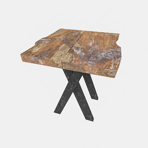 natural wood bistro table 3D model