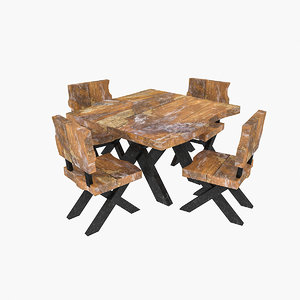 natural wood table chair 3D model