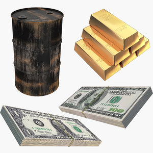3D money gold oil barrel