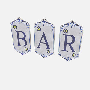 old stone bar sign 3D